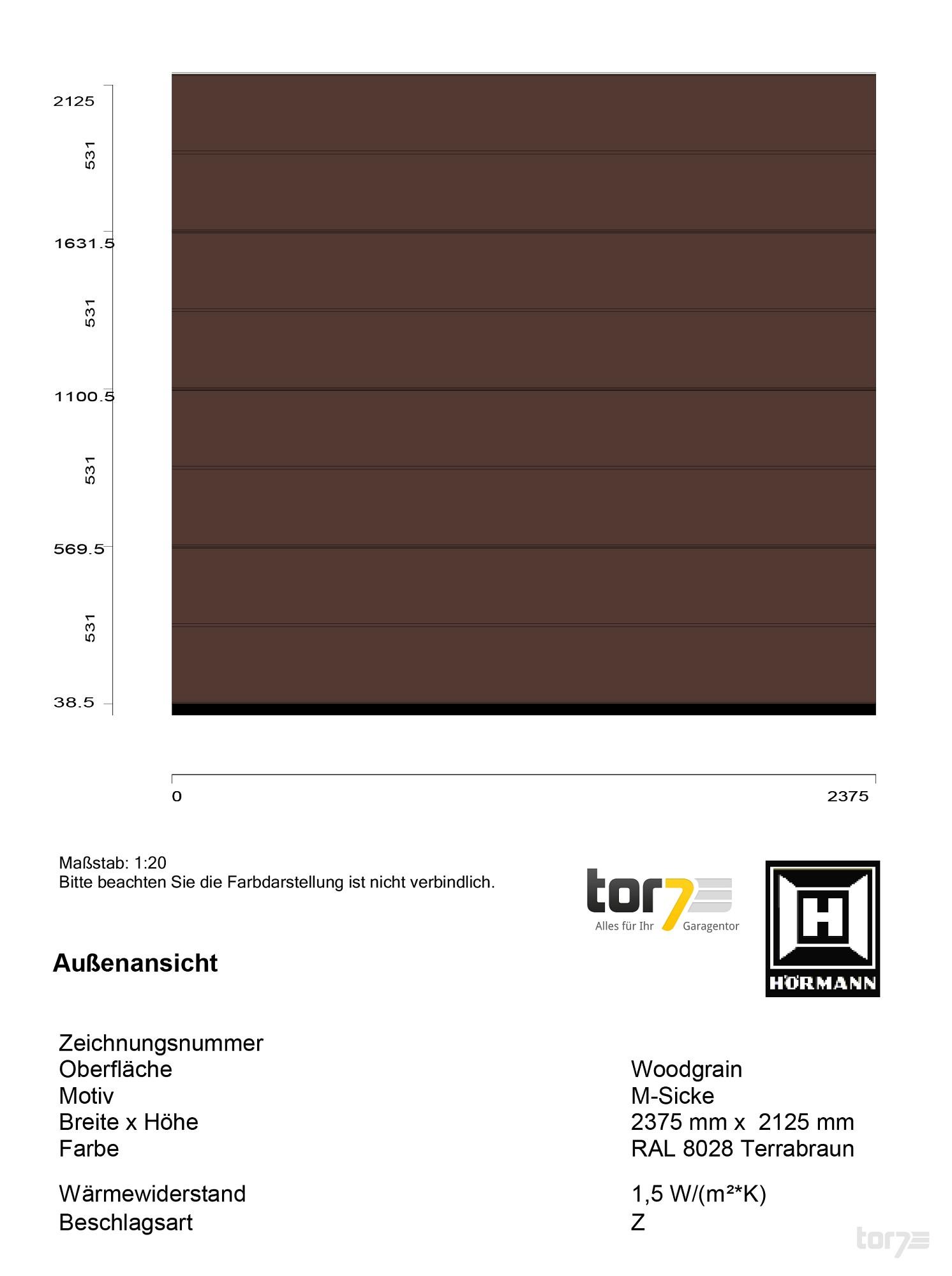 Hoermann Sektionaltor 42mm 2375x2125mm 8028 Terrabraun Garagentor Rolltor
